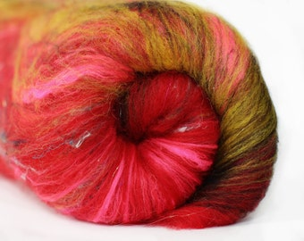 Habanero 2.8 oz  Wool - Targhee - Art Batt // Wool Art Batt for spinning or needle felting