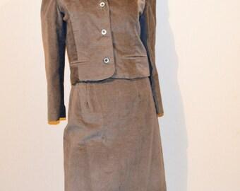 Vintage Suit Brushed Corduroy Grey