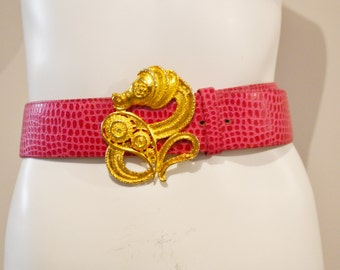 Vintage Belt Gold Seahorse with Hot Pink Leather