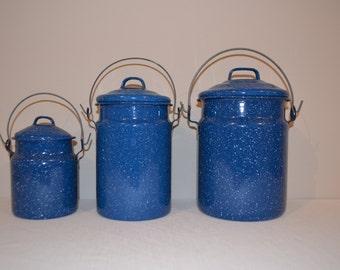 Vintage Enamelware Blue Speckled Canister / Pot Set of Three