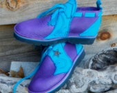 "Handmade Leather  Shoes - Purple Bull Hide & turq deerskin trim- ""NO SHOES"" Vibram Soles. Stock sizes 5,6,7,8,9,10 or custom made to fit."