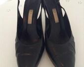 Vintage GUCCI Black Slingback Pumps size 39