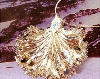 Real Leaves Jewelry, Kale Lettuce Leaf Pendant, 24K gold dipped, choice of chains, natures leaves