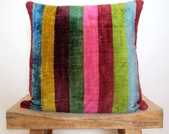ON SALE Velvet Rainbow Stripe Cushion, Pillow Cover 40 x 40 cm, 16 inch