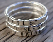 Personalized ring ONE womens silver stackable stacking ring, hand stamped fine silver, hand made custom moms jewelry gift Mother's Day gift