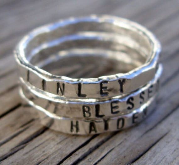 ONE Personalized womens silver stackable stacking ring, hand stamped fine silver rings, hand made custom moms jewelry Mothers day girlfriend
