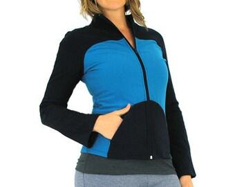Zip Jacket - S - AQUA/NAVY - Organic Cotton/Lycra