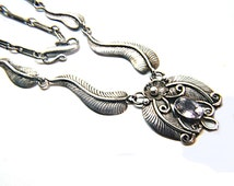Vintage Amethyst Flower and Leaf Pendant Necklace 925 Sterling Silver Charm focal element February birthstone