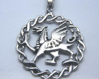 Griffin Pewter Pendant Old World Style Renaissance Gryphon, Amulet Genuine Pewter
