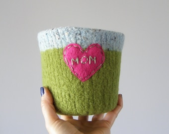 felted cactus or houseplant planter - plant pot with waterproof lining - textural planter - MOM embroidered heart in hot pink