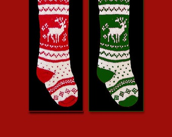 Set of two hand knit Christmas stocking, Personalized, made of pure wool yarn, fully lined -- Snowflake and reindeer