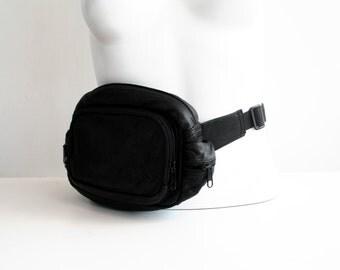 Black Leather Fanny Pack Hip Sack Bum Bag