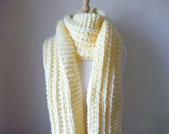 """Extra Long Scarf Knit Scarf Warm Winter Scarf Women's Scarf Soft Cream 10"""" x 80""""- Reversible Pattern - Direct Checkout - Ready to Ship"""