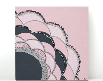 ON SALE Abstract Nursery Wall Art in Pink and Gray - Modern Flower Canvas Art Textured Painting - Small 10x10