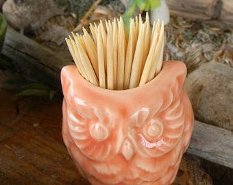 Owl Vase Planter ....         Vintage  Coral Glazed Owl - tooth pick holder