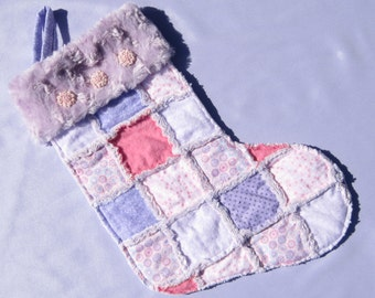 Baby's 1st Christmas Stocking Rag Quilted Stocking Lavender and Pink Chrismtas Stocking Little Girl Quilted Stocking Personalized Stocking
