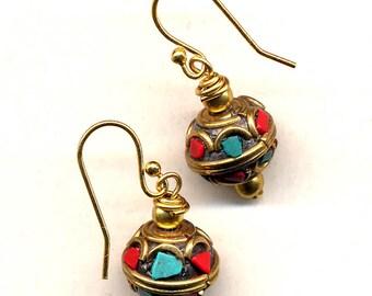 Tibetan Earrings, Tibet Earrings, Nepal Earrings, Coral and Turquoise Earrings, 18K gold filled Wire, Handmade Nepal Jewelry by AnnaArt72