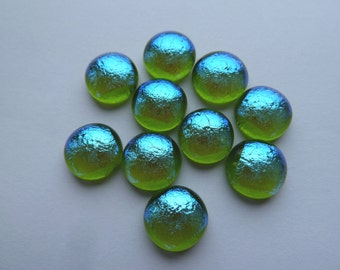 10 Handmade Fused Glass Cabochons Blue Dichroic glass on Transparent Spring Green