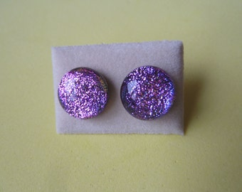 Sterling Silver 925 Dichroic Glass Stud Earrings Bright Pink Handmade