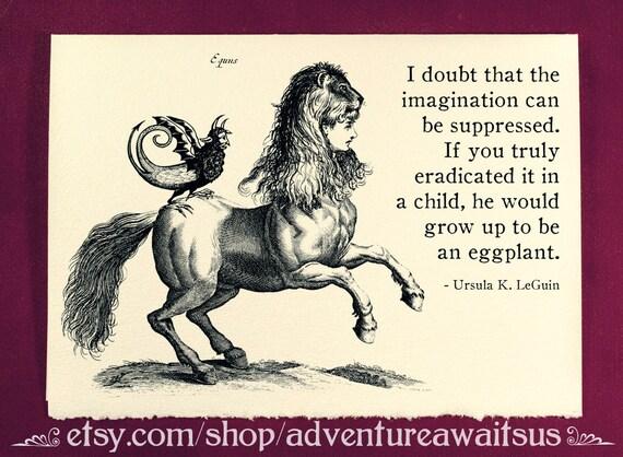 Greeting Card - Imagination - Victorian illustration woman head horse creature equs Ursula K LeGuin quote fantasy steampunk folklore myth