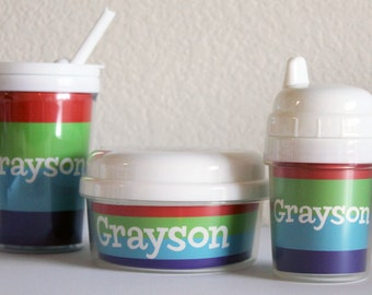 BRIGHTS - kids personalized snack cup, sippy cup, and straw tumbler cup
