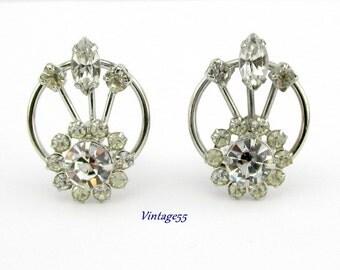 Earrings Rhinestone Silver tone clip on