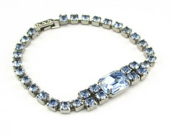 Vintage Rhinestone Bracelet Ice Blue La Rel