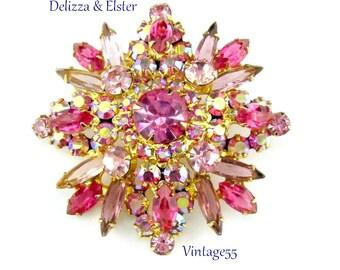Brooch Pink Rhinestone Delizza Elster