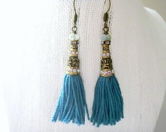 Aqua Tassel Earrings, Crystal Bead Caps, Blue BoHo Earrings, Tassel Earrings, Opal Bead , Aqua Earrings, Cotton Tassels