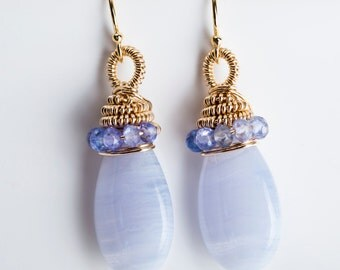 Adami Coiled Drop Earrings w/ Blue Lace Agate & Tanzanite