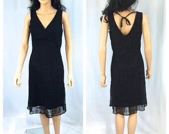 Vintage Little Black Dress. Size 7/8. Cocktail Dress. Medium. Open Back. 1980s. Alyn Paige. Under 30 Dresses. Classic Dress.