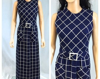 Vintage Navy Blue and Beige Checked Dress. Plaid. Small. Matching Belt. 1970s. Long Dress. Sleeveless Dress. Summer. Nautical. Linen.