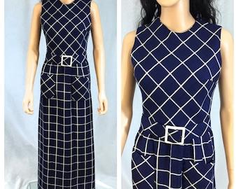 Vintage Navy Blue and Beige Checked Dress. Plaid. Small. Matching Belt. 1970s. Long Dress. Sleeveless Dress. Summer. Nautical. Linen.