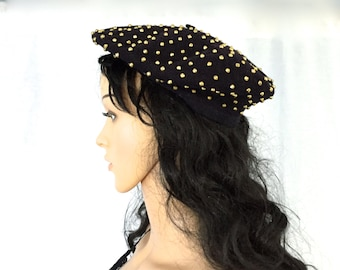 Vintage Black Beret with Gold Nugget Bead Accents. Don Kline. 1980s. Women's Accessories. Wool Beret. Under 20. Winter Hats.