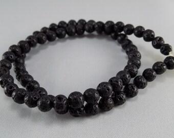 Black Lava Beads - 6mm - Sold per strand