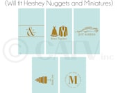 W125 - Custom candy bar labels made to fit miniatures and nuggets self adhesive personalized choose colors vinyl label sticker wedding party