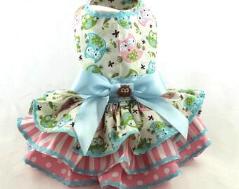 Harness dog dress, dog dress, Owl dog dress, Ruffle dog dress, Spring dog dress