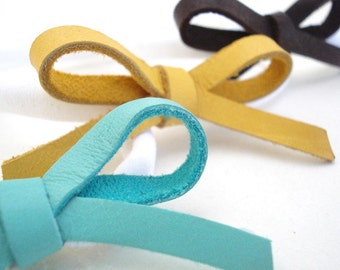 Leather Bow Headband, Blue, Yellow, Brown