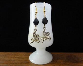 Pegasus Earrings- Gold Pegasus Charm & Black Bead Dangle Earrings- University of Central Florida Knights Earrings, UCF Jewelry