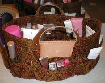 """Purse organizer/ Bath ORGANIZER bag, insert organizer /Extra Sturdy in red burgundy Damask   13""""Lx5""""Wx6.5"""" H"""