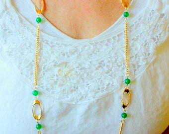 Vintage Necklace Green Bead Long Chain Layering