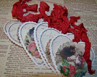 Valentine's Day Tags Romantic Tags Wedding Tags Vintage Style Heart Tags - Set of 6