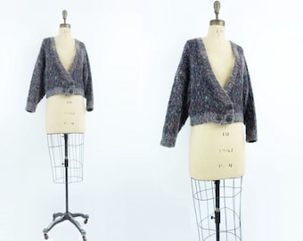 Vintage Cardigan Gray Wool Cardigan 80s Cropped Sweater Fuzzy Gray Cardigan Boxy Gray Sweater Oversize Sweater Made in England Size m