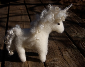 Baby Unicorn personalized with embroidered intial and flower. wool hand sewn (woolcrazy)