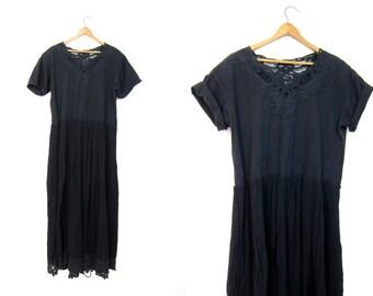80s CUT OUT Black Dress Long Cotton GAUZE Tshirt Dress Minimal Bali Long Frock Plain Maxi Dress 90s Simple Grunge Boho Dress Medium Large