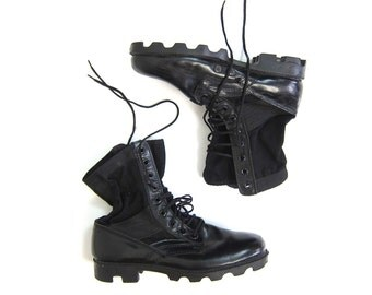 Black Canvas + Leather Combat Boots Mens Army Military 80s Work Boots Tall Lace Up Chunky Punk Rock Goth GRUNGE Boots Men's 9 Regular