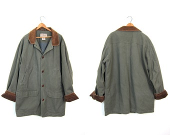 Vintage Olive Green Barn Coat 90s Mens Womens Chore Jacket Ranch Coat Oversized Fall Trench Coat Large Pockets Men's Size Large