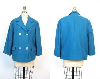 60s Blue Pea Coat Womens 1960s Swing Coat Cropped Double Breasted Fall Knit Jacket PeaCoat Preppy Prep School Vintage Womens Small Medium