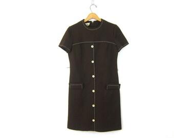 Mod Mini Dress Brown Gogo Space Age RETRO Dress 1960s Button Front Twiggy Dress size Medium Louanne's Vintage