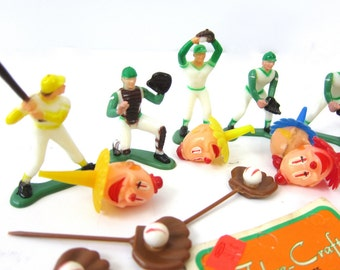Vintage Cake Toppers Clowns for Your Birthday Cake Baseball Players Sports Athletic Ball Gloves Ducks Retro Holiday Decor Childrens Birthday